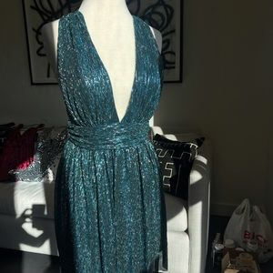 Lulu's Gold and Teal Blue Skater Dress/ NEW W TAGS